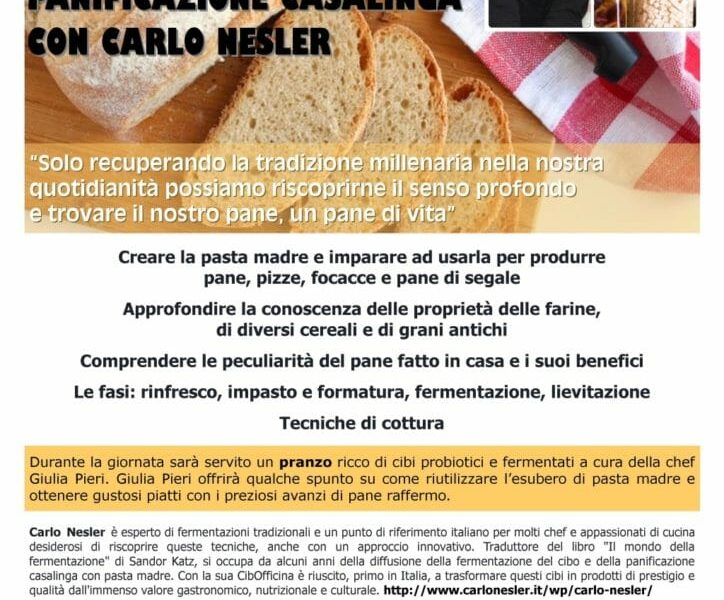 25 maggio Corso di panificazione casalinga – Ecomuseo delle erbe palustri – Bagnocavallo